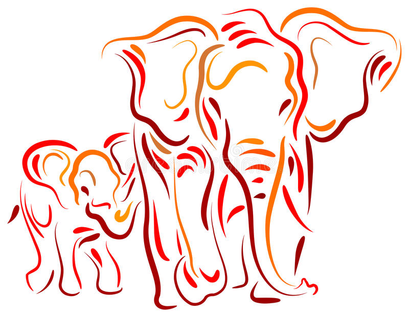 Download Elephant and calf stock vector. Image of brush, huge - 29159089