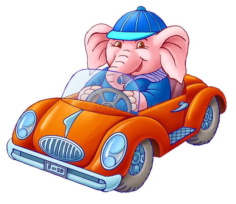 The Elephant In The Car Stock Photo