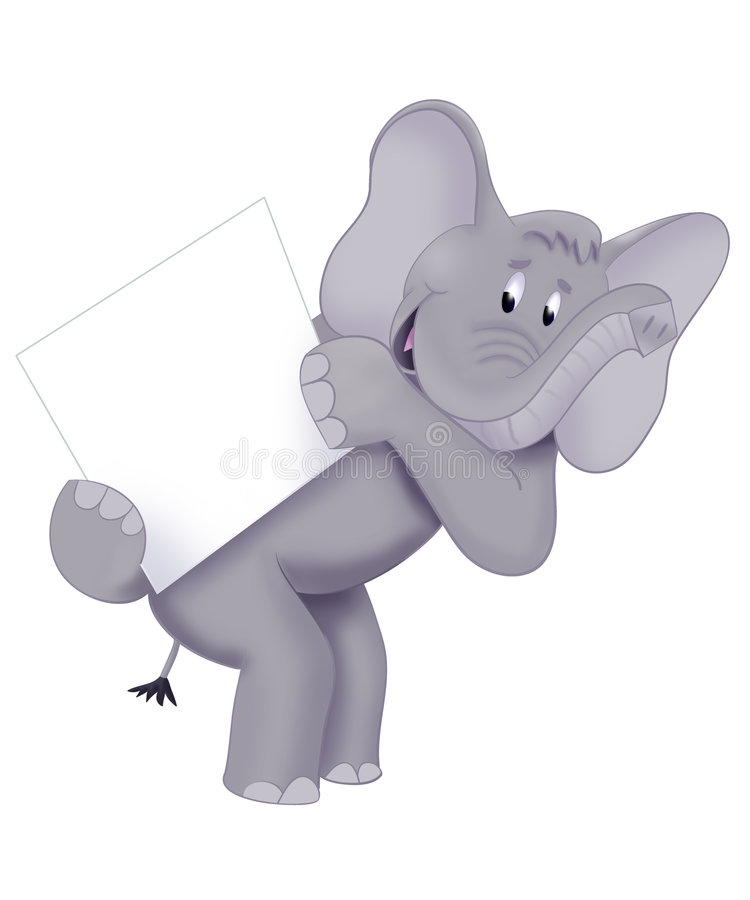 Elephant card. An illustrated cartoon of an elephant holding a white card, isolated on a white background stock illustration