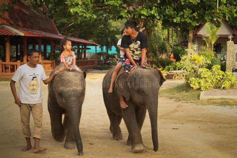 Elephant carries children stock image
