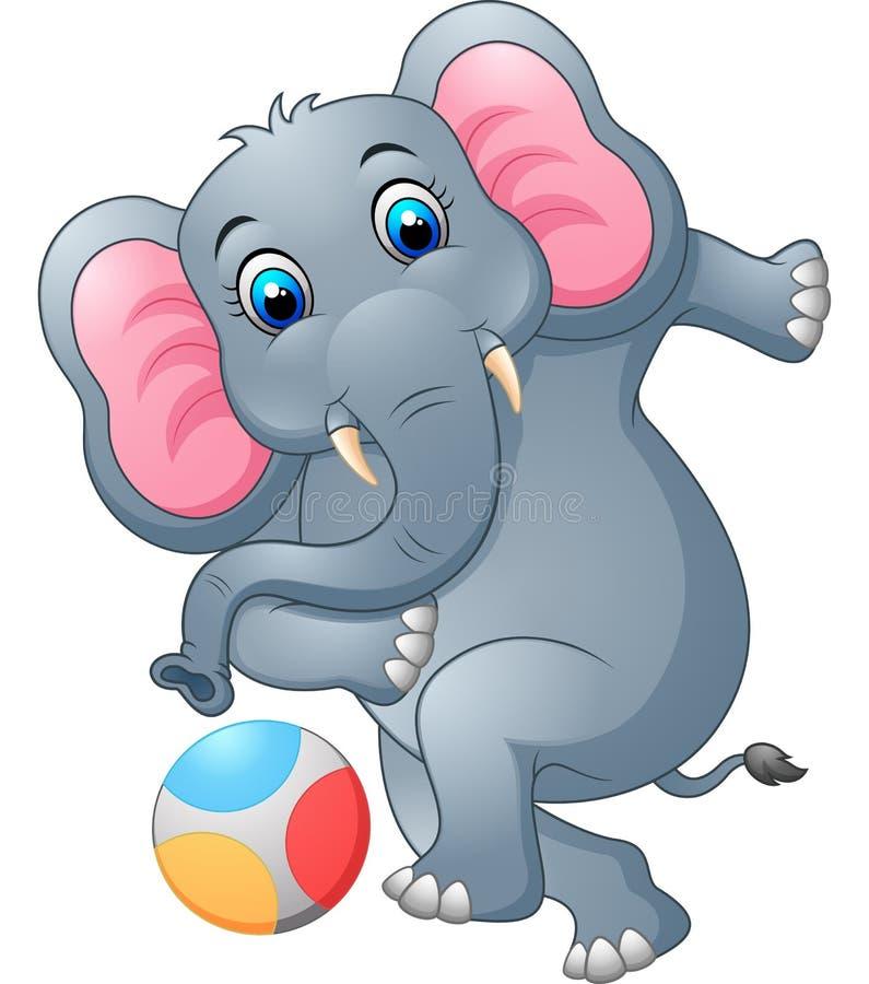 Elephant cartoon kicking a ball royalty free illustration