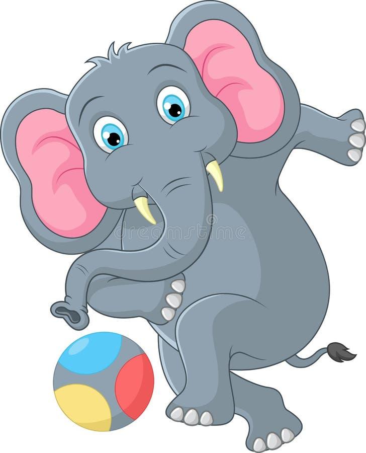 Elephant cartoon kicking a ball vector illustration