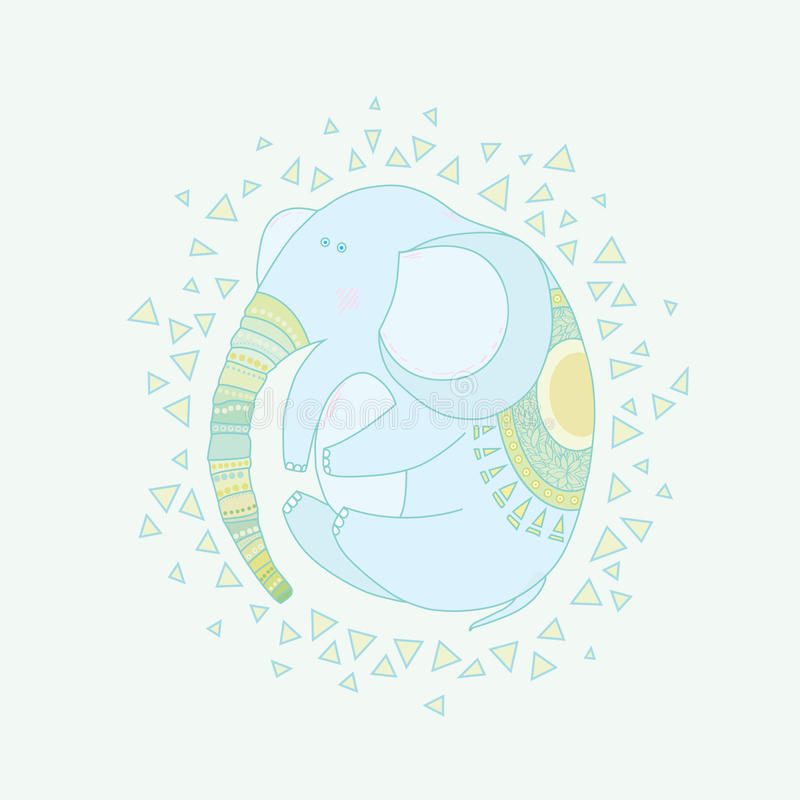 Elephant child in a circular composition. royalty free stock photo