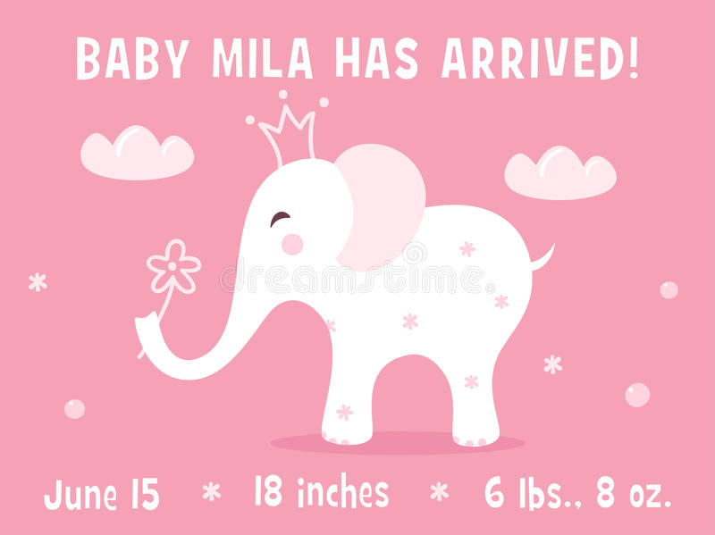 Elephant And Clouds Baby Girl Birth Announcement Card Template