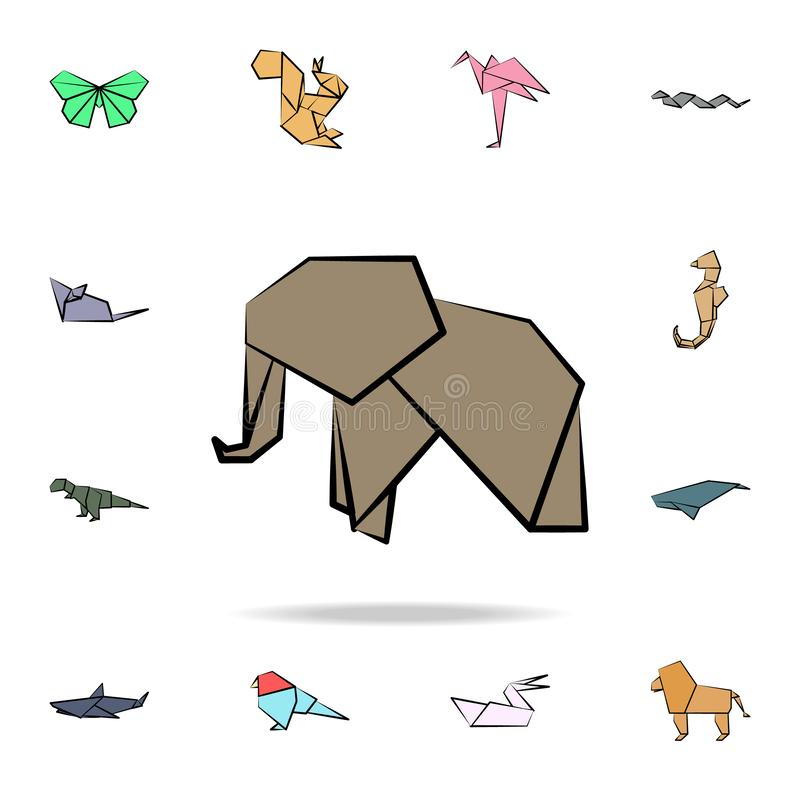 Elephant colored origami icon. Detailed set of origami animal in hand drawn style icons. Premium graphic design. One of the. Collection icons for websites, web royalty free illustration
