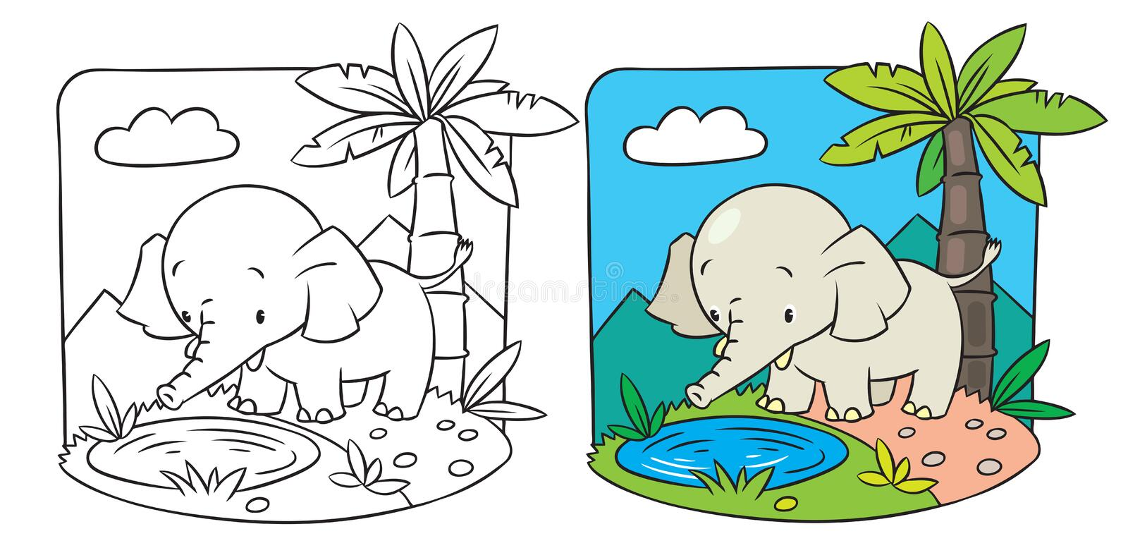 Elephant. Coloring book stock illustration