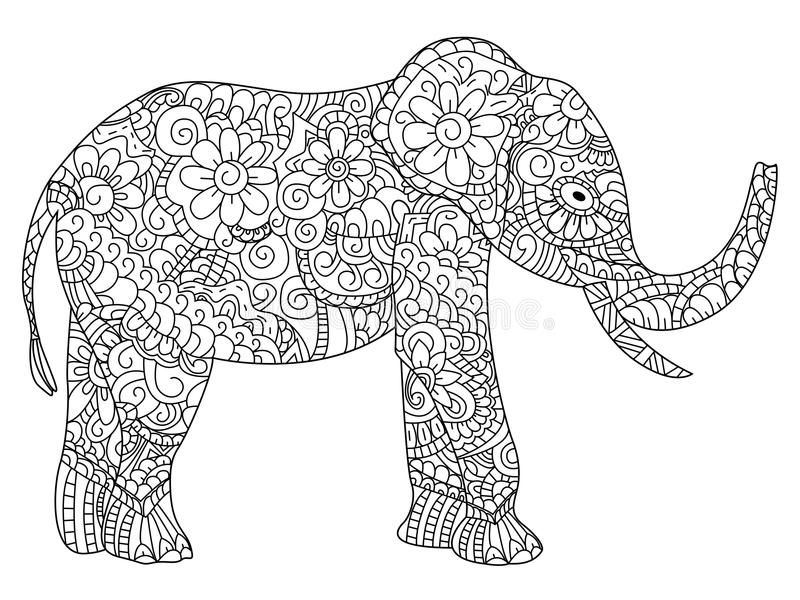 Elephant Coloring Book Vector For Adults Stock Vector - Illustration ...