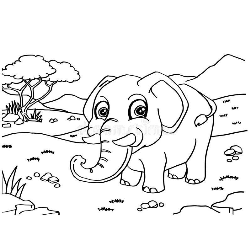 Elephant Coloring Pages Vector Stock Vector