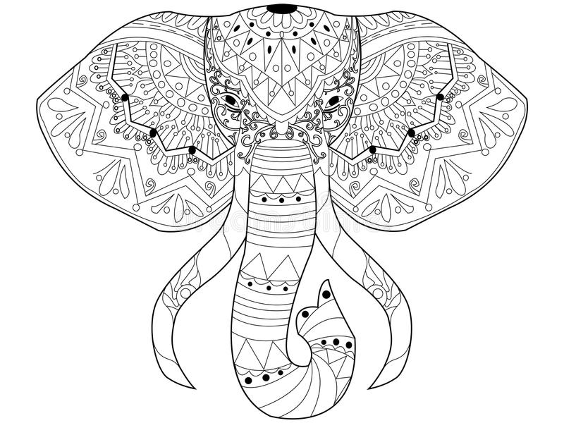 Elephant Coloring Vector For Adults Stock Vector - Illustration of ...