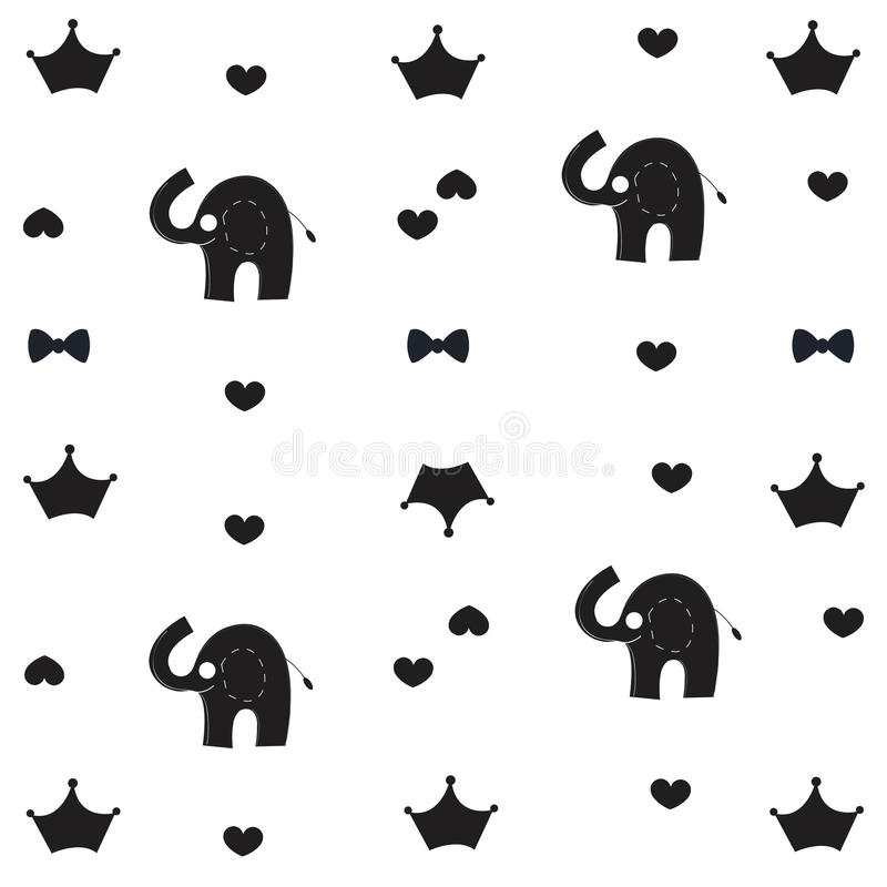 Download Elephant Crown And Bow Tie Baby Black White Pattern Wallpaper Stock Vector