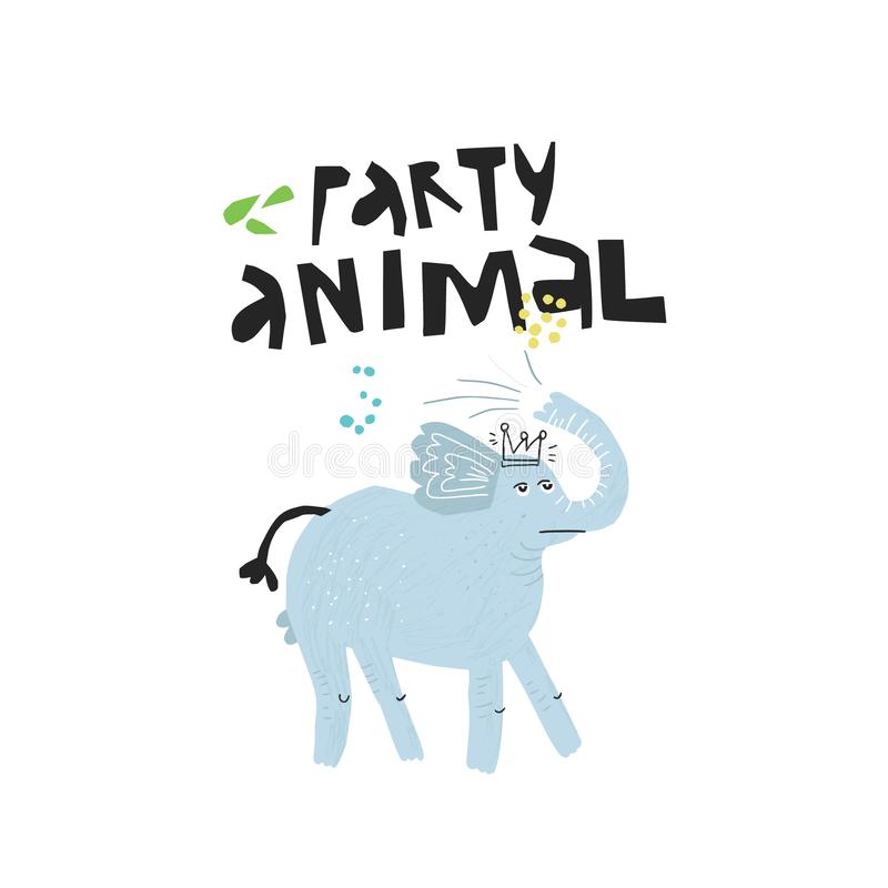 Elephant in crown hand drawn flat illustration. Party animal black handwritten lettering. Cool, lazy african mammal scandinavian sketch drawing. Isolated royalty free illustration