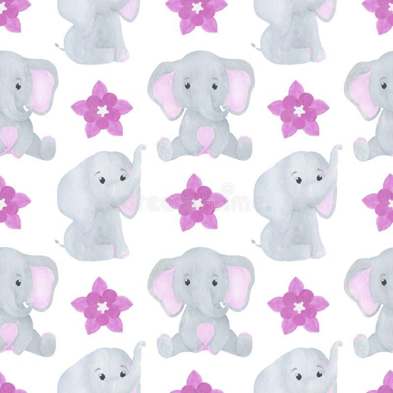 Elephant cute little watercolor seamless pattern childish illustration vector illustration