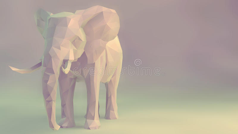Elephant. 3d render of elephant, abstract geometric low poly royalty free illustration