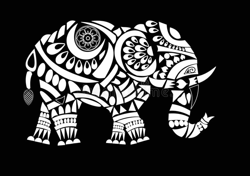 Elephant design. Line art elephant design white fill with some flower designs royalty free illustration