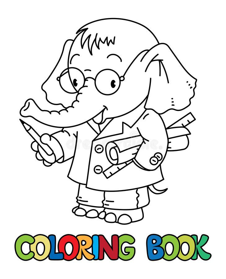 Elephant engineer ABC coloring book. Alphabet E. Elephant engineer. Coloring book of funny elephant engineer or inventor in coat with papers or drawings, showing royalty free illustration