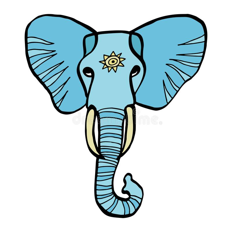 Minimalist Elephant Drawing: Elephant Artwork Stock Illustration. Illustration Of