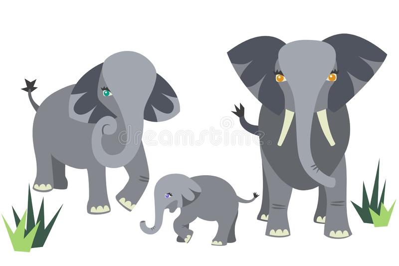 Elephant Family Vector Set royalty free illustration