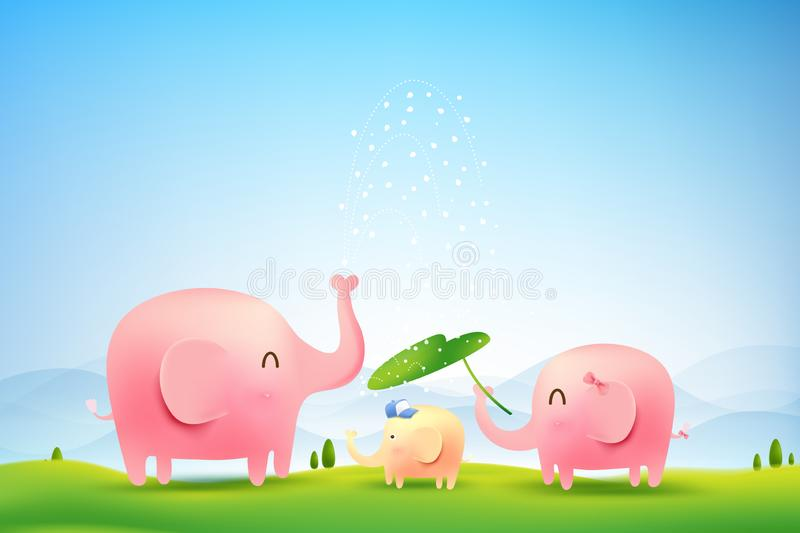 Elephant family walking in the forest 002 stock illustration