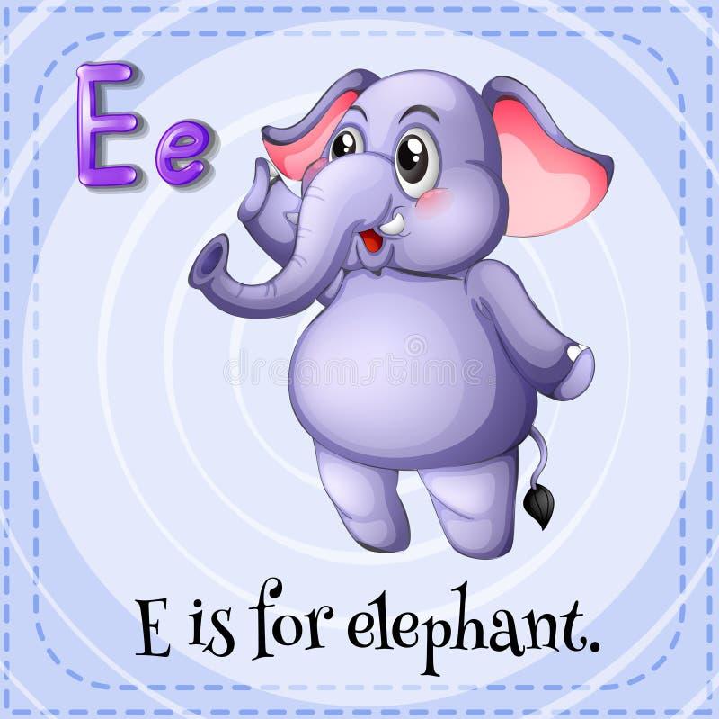 Elephant. Flashcard letter E is for elephant royalty free illustration