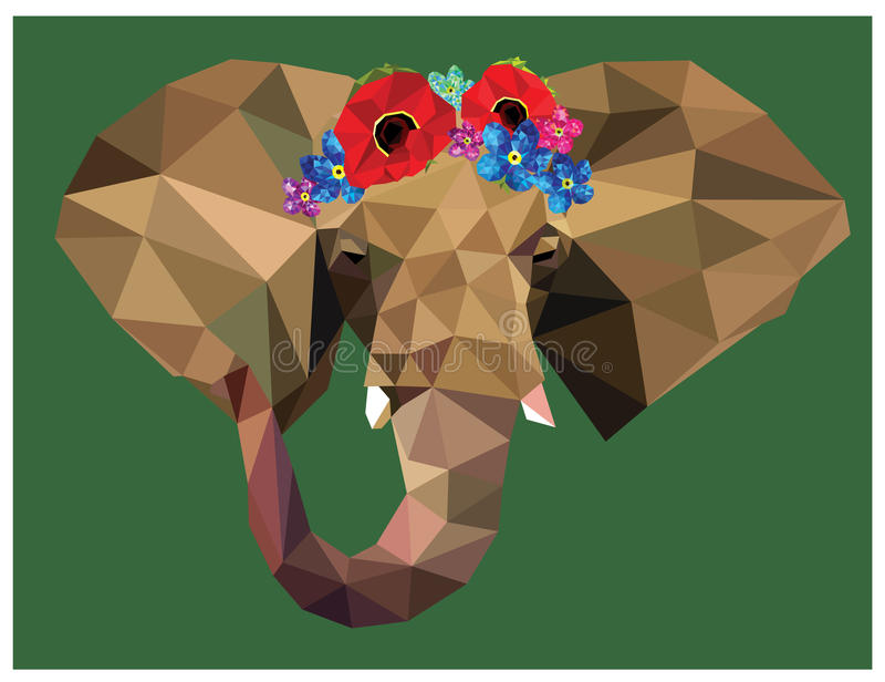 Elephant floral crown. Elephant head colorful low poly design with beautiful floral crown on blue background with white outline. Animal portrait card design stock illustration