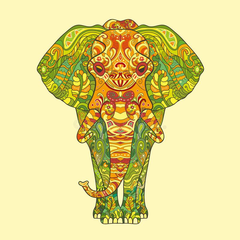 Elephant with a floral pattern stock illustration