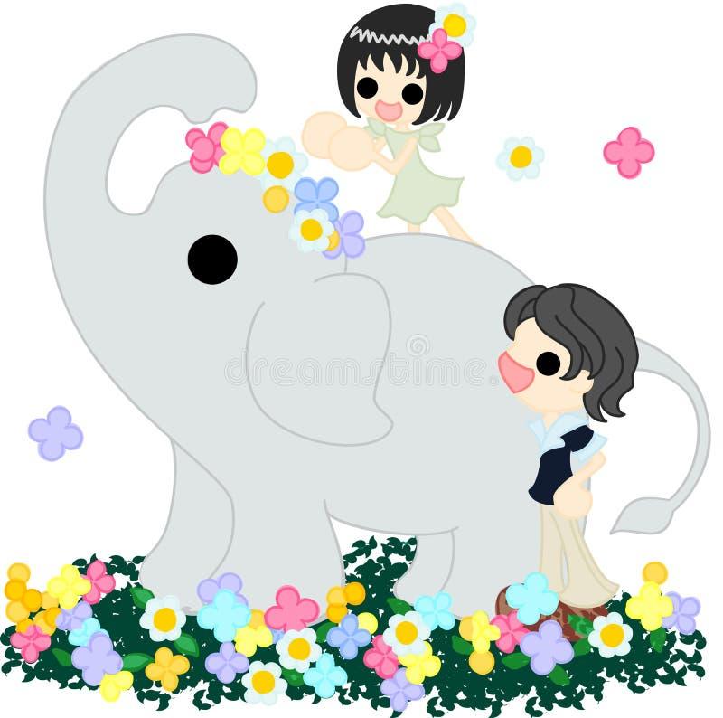 The elephant on the flower garden. stock illustration
