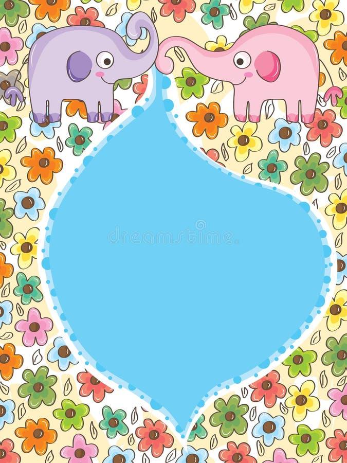 Elephant Flowers Shower_eps royalty free illustration