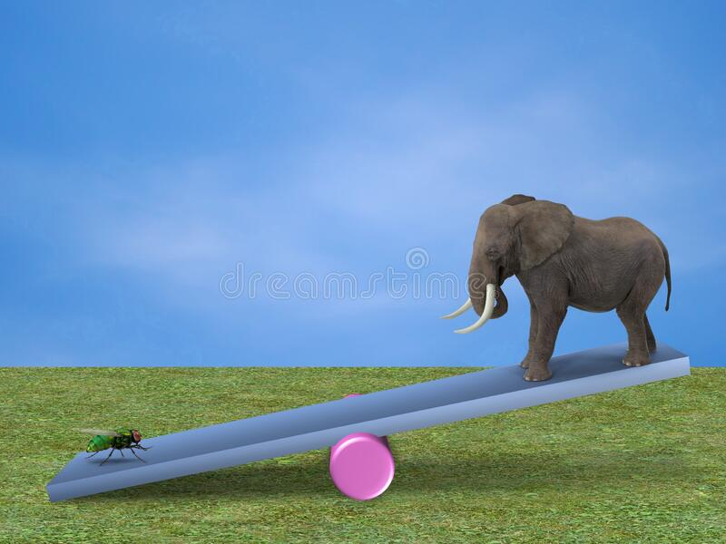 Elephant and fly on a seesaw. Fun / humorous image of a fly weighing down an elephant on a child`s seesaw stock photos