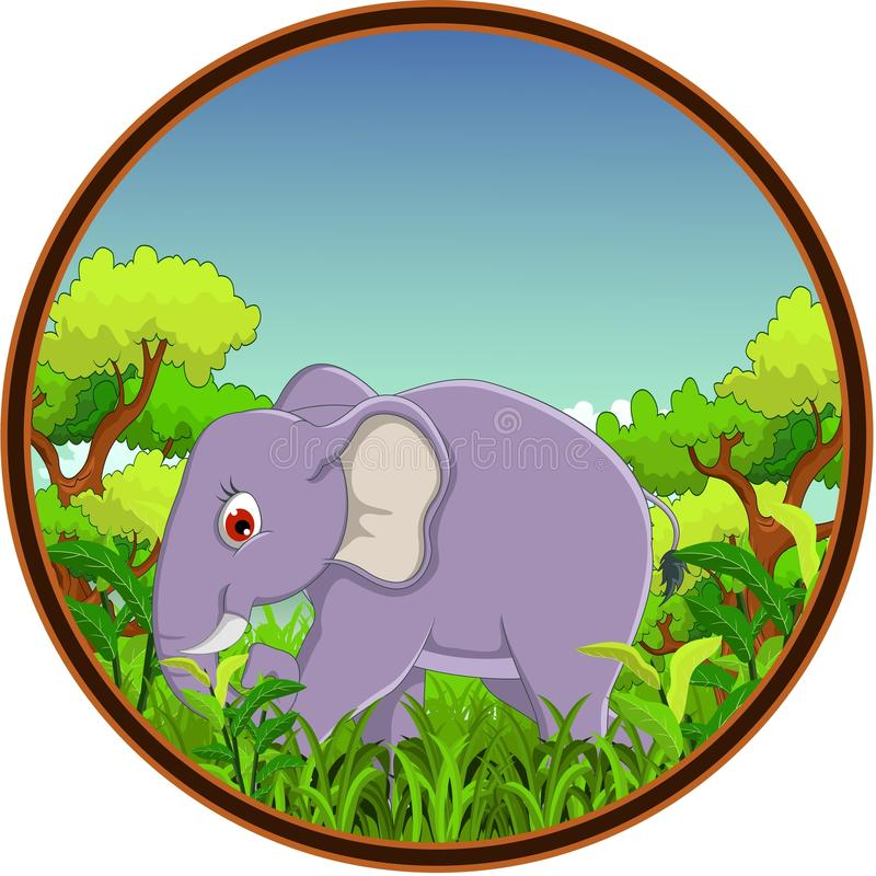Elephant With Forest Background Stock Images