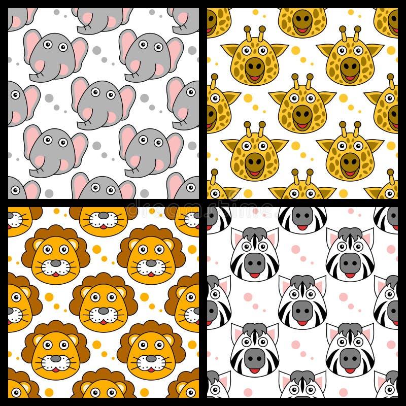 Elephant Giraffe Lion Zebra Seamless stock illustration