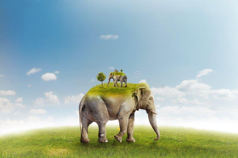 Elephant on green meadow - recursion vector illustration