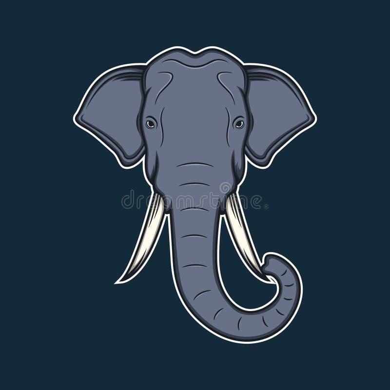 elephant head cartoon vector illustration