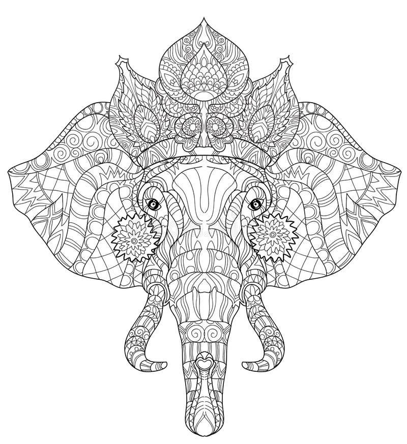 Kleurplaten Volwassenen Paarden Elephant Head Doodle On White Vector Sketch Stock Vector