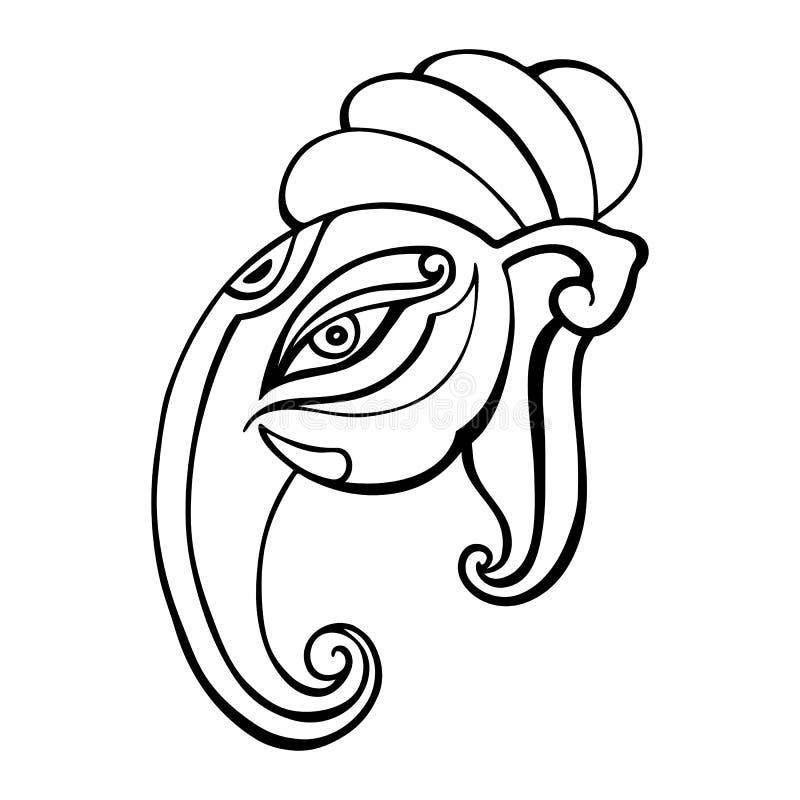Elephant Head.. Ganesha Hand Drawn Illustration. Stock Vector