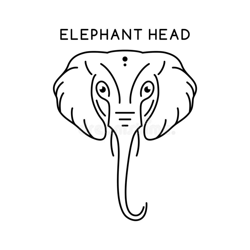 Elephant head outline logo. Your company stock illustration