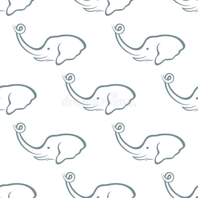Elephant head seamless pattern stock illustration