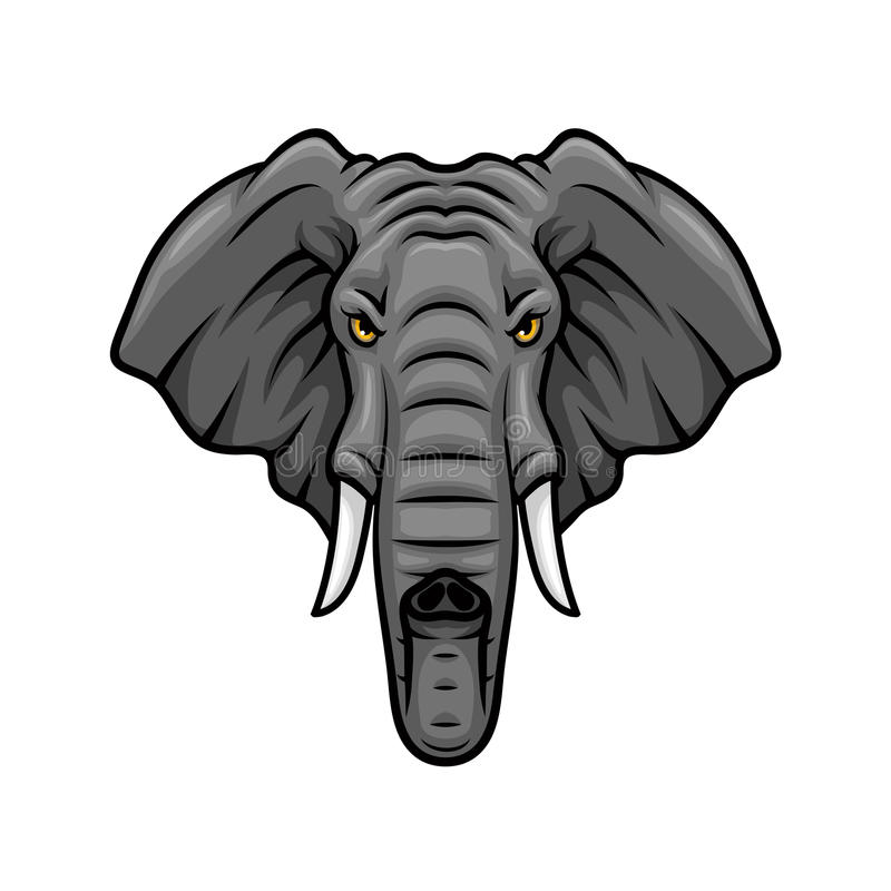 Elephant head, tusks and trunk vector mascot icon. Elephant vector mascot icon. Head of African or Indian elephant or mammoth animal with tusks and trunk stock illustration
