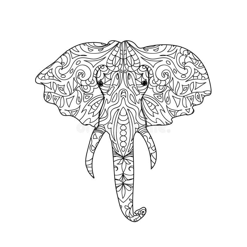 Elephant head zentangle stock illustration. Image of coloring ...