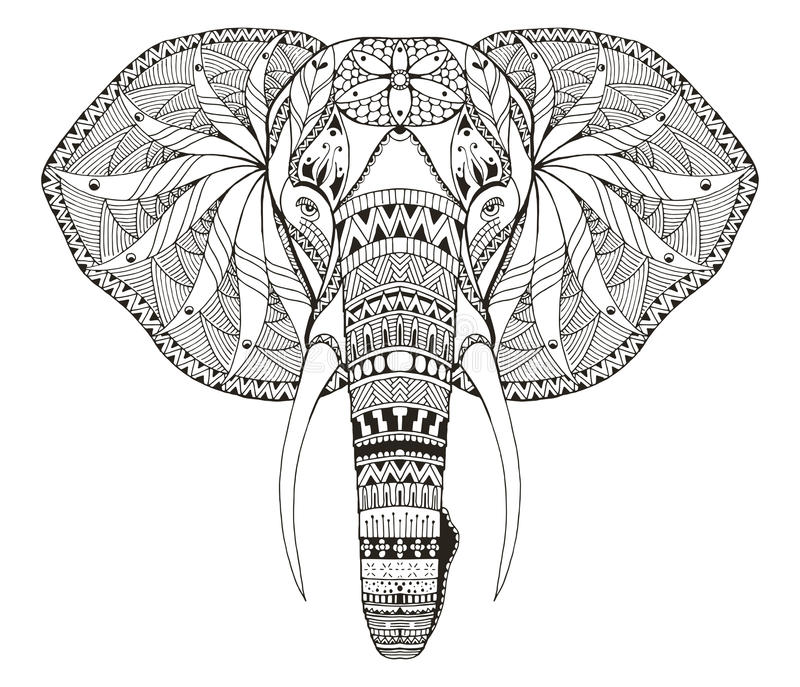 Elephant head zentangle stylized, vector, illustration, freehand. Pencil, hand drawn, pattern. Zen art. Ornate vector. Lace. Coloring. Print for t-shirts and stock illustration
