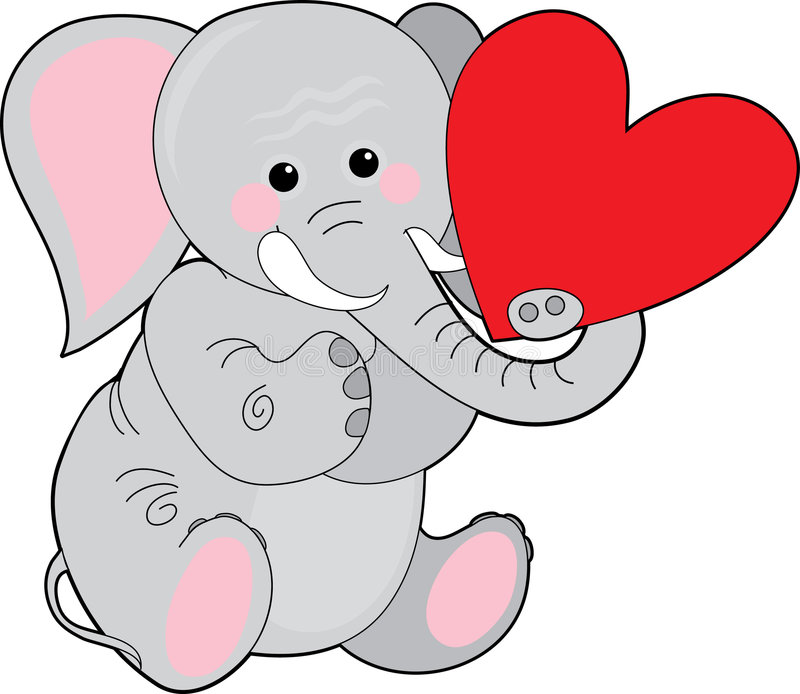Elephant Heart. Baby elephant holding a heart in his trunk stock illustration