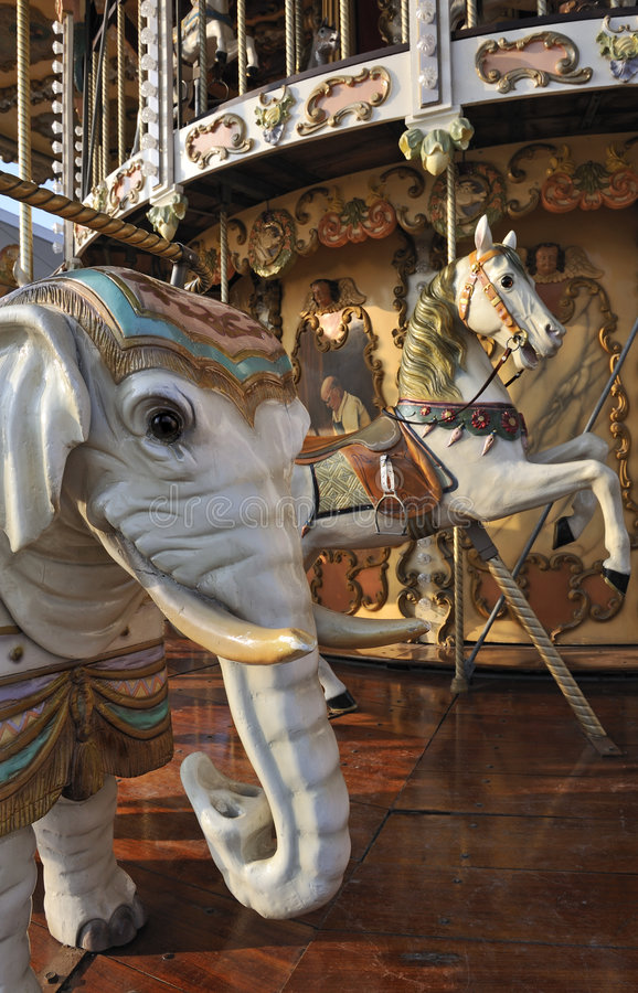Download Elephant And Horse On Fairground Carousel Stock Image - Image of fairground, funfair: 7643361