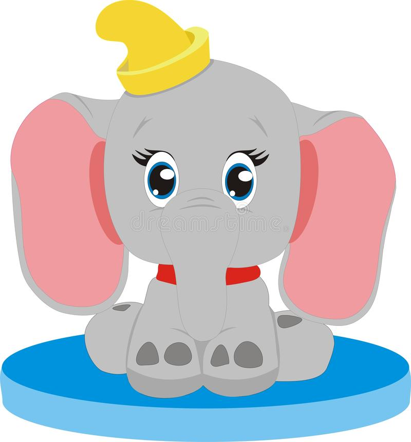 Elephant on an ice floe, children`s drawing. stock photo