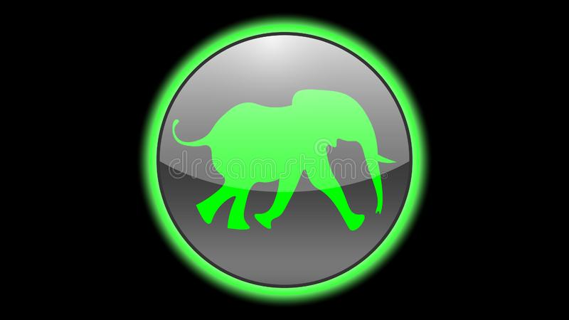 Elephant icon vector design. Green neon icons with animals. Animals icons vector royalty free illustration