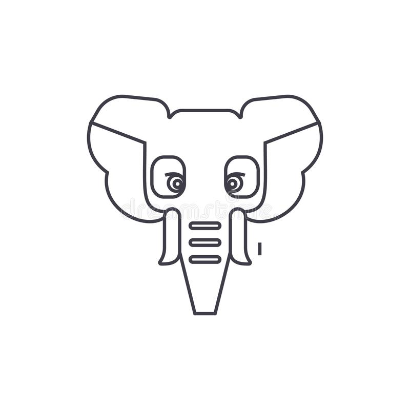 Elephant, india vector line icon, sign, illustration on background, editable strokes royalty free illustration