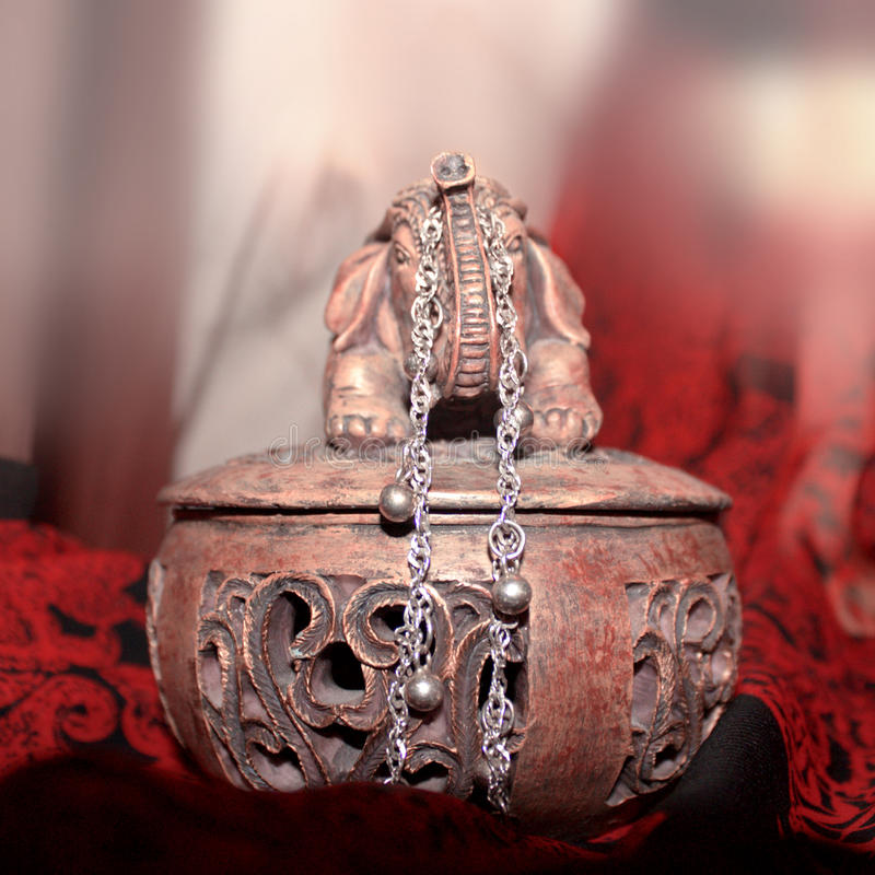 Elephant jewelry box royalty free stock photos