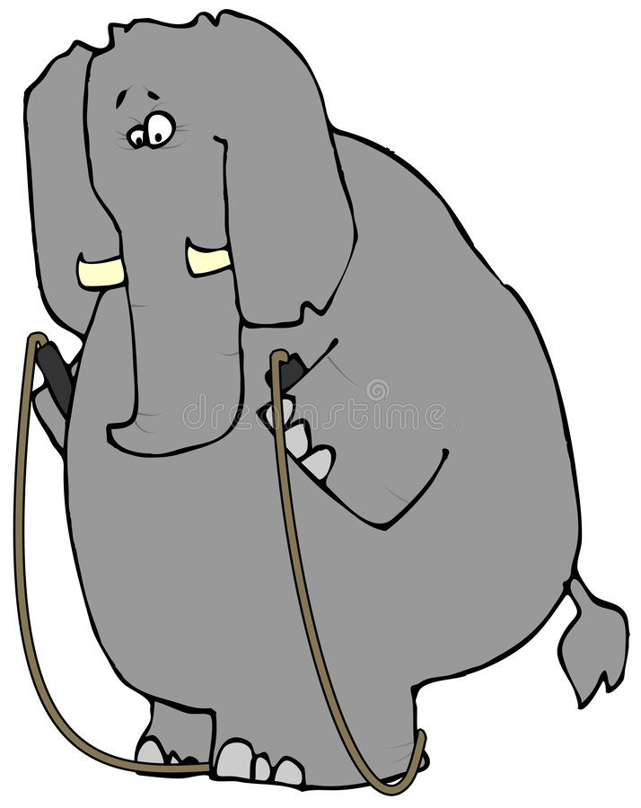 Elephant With A Jump Rope royalty free illustration