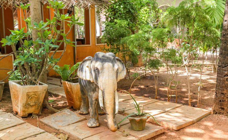 Elephant lets welcome you at Nilaveli. Elephant is a part of Sri Lanka fauna. It is also a decoration for many hotels at Nilaveli stock photo