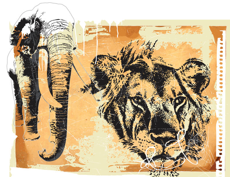 Elephant and lion royalty free illustration
