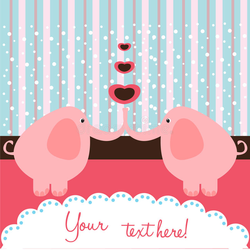 Elephant love card royalty free illustration
