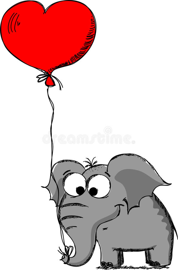 Elephant in love on Valentine's Day,vector royalty free illustration